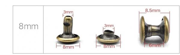 Duplafejű szegecs 8mm ezüst
